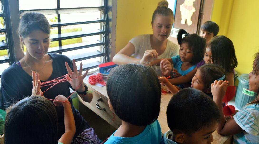 Local children use their creativity during an arts and crafts lesson run by Projects Abroad Childcare volunteers in the Philippines.